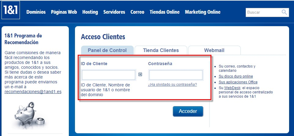 1and1 acceso a clientes