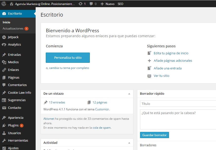 panel control wordpress