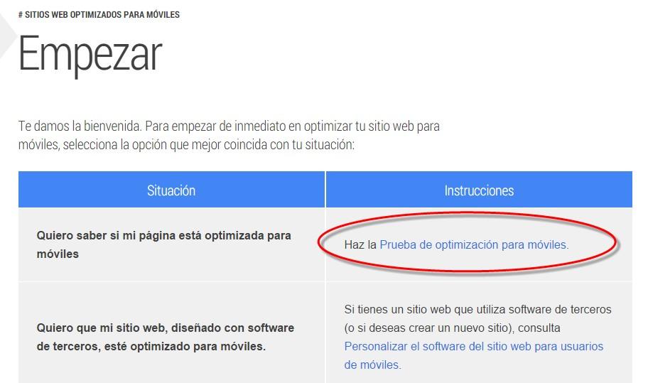 prueba para ver si  tu sitios web optimizados para moviles